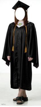 Female Graduate Black Cap & Gown Lifesize Stand-In