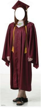 Female Graduate Red Cap & Gown