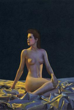 Female Nude on Gold Drapery