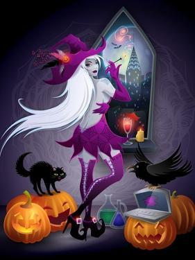 Halloween Illustration : a Beautiful Witch Looking at a New York City by feoris