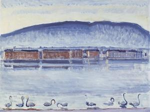 Lake Geneva with Mont Salève and Swans by Ferdinand Hodler