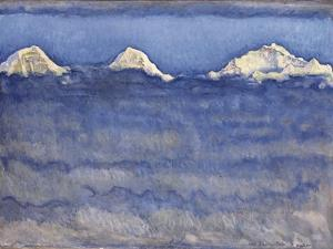 The Eiger, Monch and Jungfrau Peaks Above the Foggy Sea by Ferdinand Hodler