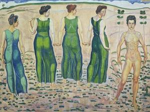 Youth, Adored by the Woman (First Version), 1903 by Ferdinand Hodler