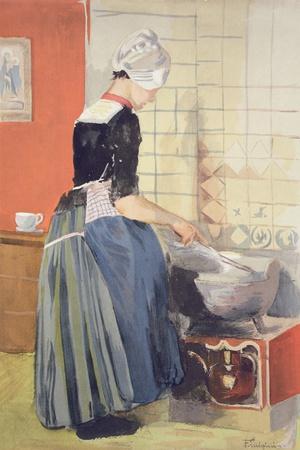 Dutch Girl Cooking, from 'L'Estampe Moderne', Published Paris 1897-99