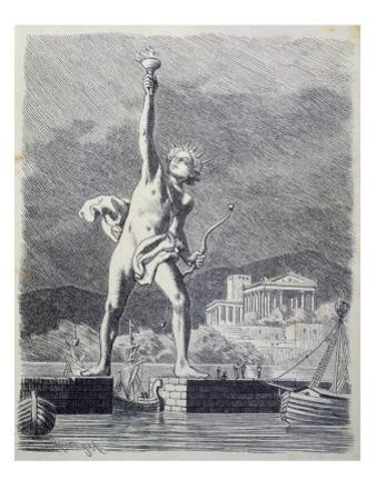 The Colossus of Rhodes, from a Series of the 'seven Wonders of the Ancient World', 1886 by Ferdinand Knab