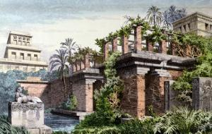 """The Hanging Gardens of Babylon, from a Series of the """"Seven Wonders of the World"""" by Ferdinand Knab"""