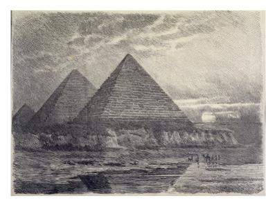 The Pyramids of Giza, from a Series of the 'seven Wonders of the World', 1886 by Ferdinand Knab
