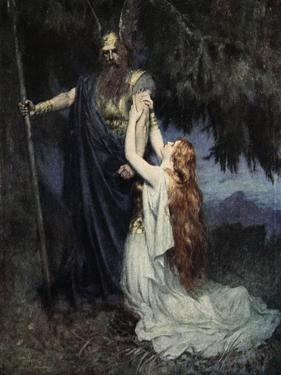 Brunhilde knelt at his feet, from 'The Stories of Wagner's Operas' by J. Walker McSpadden by Ferdinand Leeke