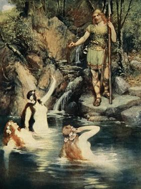 Three maidens swam close to the shore, from 'The Stories of Wagner's Operas' by J. Walker McSpadden by Ferdinand Leeke