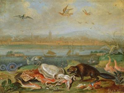 Creatures from the Four Continents in a Landscape with a View of Canton in the Background