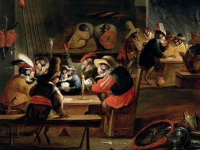 Monkeys in a Tavern, Detail of the Card Game