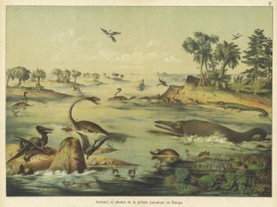 Animals and Plants of the Jurassic Era in Europe