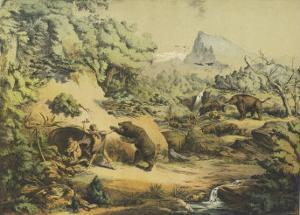 Animals (Including Homo Sapiens) at the Time of the Flood by Ferdinand Von Hochstetter