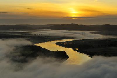 A Misty Morning View Looking Down the River Tay in Autumn, Kinnoull Hill Woodland Park, Scotland