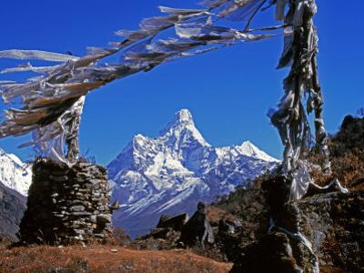 Amma Dablam, Framed by Prayer Flags, One of Most Distinctive Mountains Lining Khumbu Valley, Nepal by Fergus Kennedy