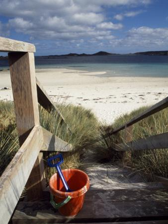 Bucket and Spade on the Steps Leading to the Beach Near Blockhouse Point, Tresco by Fergus Kennedy