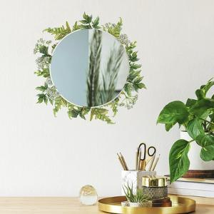 FERN PEEL & STICK DECALS WITH CIRCLE MIRROR