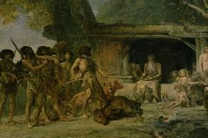 The Stone Age, Returning from a Bear Hunting, 1882 by Fernand Cormon