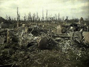 Buildings and Trees Destroyed by Artillery Fire, Chaulnes, Somme, France, 1917 by Fernand Cuville