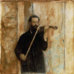 A Portrait of Achille Lerminiaux Playing the Violin, 1885 by Fernand Khnopff