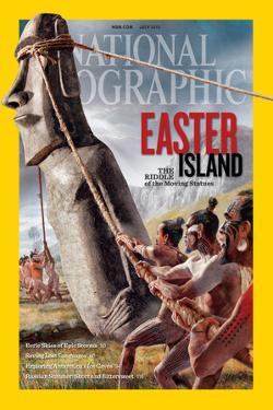 "Ancient Easter Islanders Used Ropes to ""Walk"" the Moai Statues. Ngm July 2012 Cover by Fernando G. Baptista"