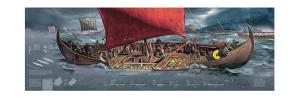 Illustration Depicting Viking Ships Dominating the Seas of Northern Europe, 8th to 11th Century by Fernando G. Baptista