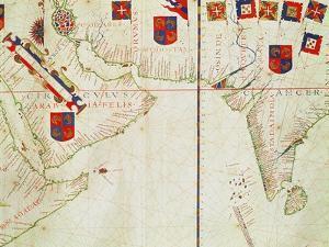 Map of Persia, Arabia and India, from an Atlas, 1571 by Fernao Vaz Dourado