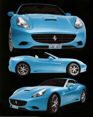 Ferrari California Blue Car Poster