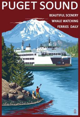 Ferry And Mount Rainier Scene - Puget Sound, Washington