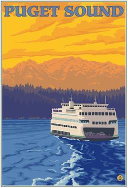 Ferry And Mountains, Puget Sound, Washington