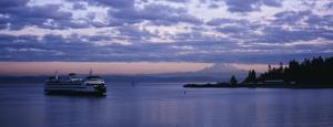Ferry in the Sea, Elliott Bay, Puget Sound, Washington State, USA
