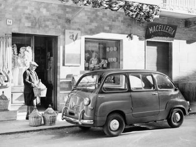 Fiat 600 Multipla Outside a Shop, (C1955-C1965)