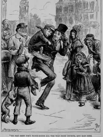 "Fictional Characters Bob Cratchit and His Son Tiny Tim from Dicken's ""A Christmas Carol"""