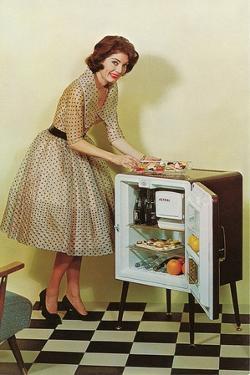 Fifties Housewife with Mini-Fridge