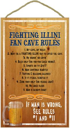 Fighting Illini Fan Cave Rules Wood Sign