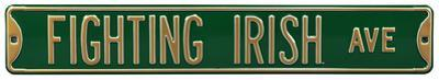 Fighting Irish Ave Green Steel Sign