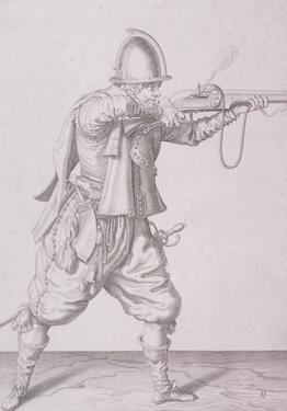 Figure in Military Clothing Firing a Musket and Wearing a Sword, 1607