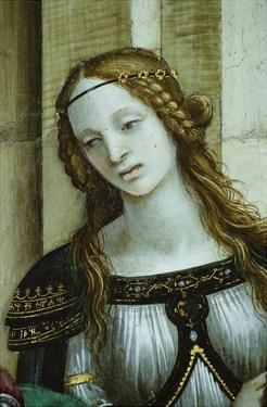 Detail of Young Woman from Saint John the Evangelist Reuscitating Druisana by Filippino Lippi