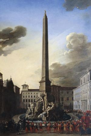 Visit of Pope Innocent X to Fountain of Rivers at Piazza Navona, Circa 1651