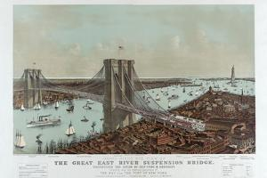 Grand Birds Eye View of the Great East River Suspension Bridge by Currier & Ives by Fine Art