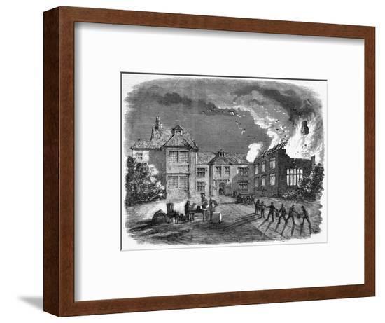Fire at Birdingsbury Hall, Warwick--Framed Giclee Print
