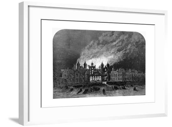 Fire at Capesthorne Hall, Cheshire--Framed Giclee Print