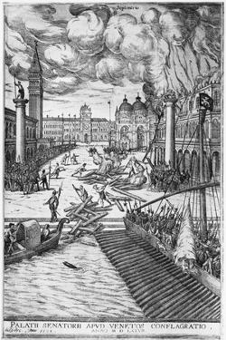 Fire at Doge's Palace in Venice, 1577, Italy, 16th Century