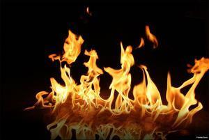 Fire (Flames, Line) Art Poster Print