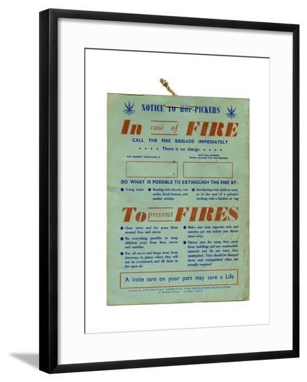 Fire Safety Hop Pickers--Framed Giclee Print