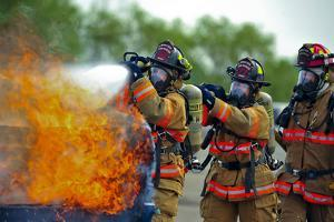 Firefighters Put Out a Fire During at Minot Air Force Base, North Dakota