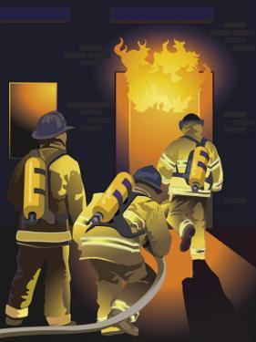 Firemen Entering a Burning Building