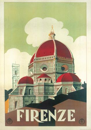 Firenze Cupola (Florence Dome) Italian Vintage Style Travel Poster