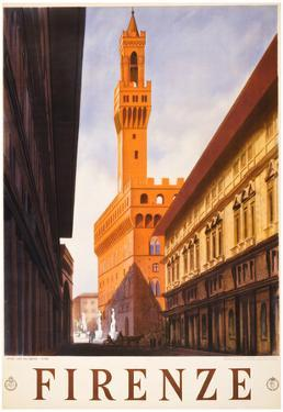 Firenze Italy Travel Vintage Ad Poster Print