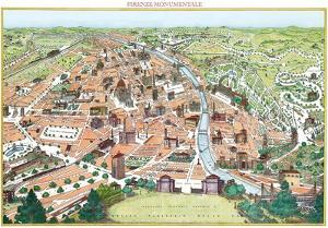 Firenze Monumentale- Antique Map Of Florence